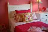 pink feminine bedroom for a little girl, interior poster