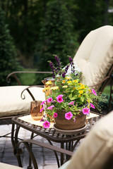 chairs on the patio with flowers in the summer