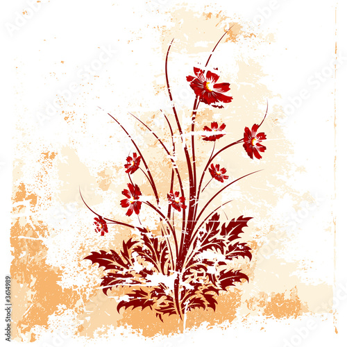 canvas print picture grunge background with flowers vector illustration