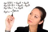 asian business woman solving a mathematical formula poster