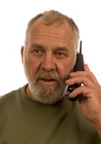 older man using telephone isolated on white poster