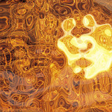 a very large illustration of liquid shiny metallic gold poster