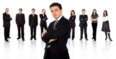 confident businessman leading a business team