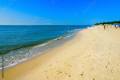 The European summer beach scene. Blue Sky