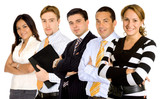 confident businesswoman leading a professional business team poster