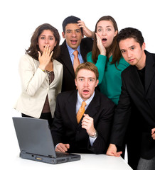 business team looking shocked and stressed - isolated