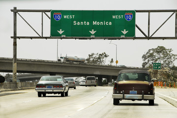 The I 10 Freeway to Santa Monica in Los Angeles