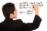 maths teacher writing a mathematical formula poster