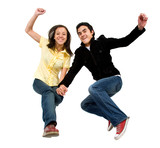happy couple jumping of joy - isolated over a white background poster
