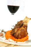 Rack of lamb with rosemary and mustard, on a sweet potato mash. poster