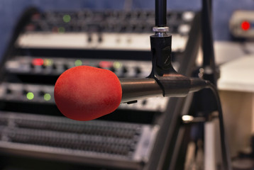 Microphone in record studion of small broadcasting station