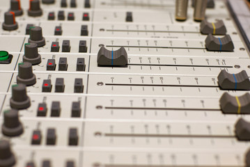 Mixer console on small broadcasting station
