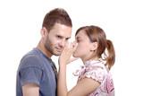 Girlfriend talking to a boyfriend against white background poster