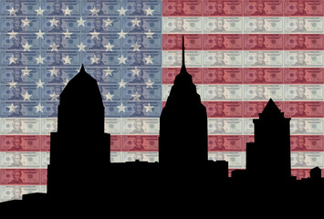 Philadelphia skyline with American flag and currency