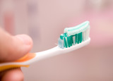 Tooth brushing close up poster