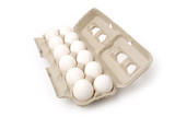 white eggs in carton with white background poster