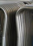 Rack of steel tubes for furniture production. poster