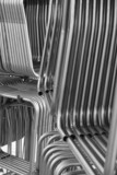 Racks of steel tubes for furniture production. poster