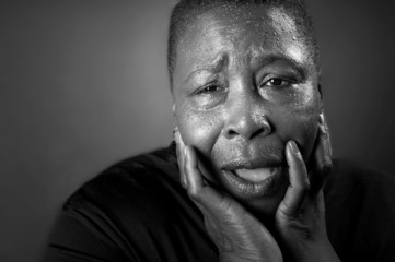 Powerful Portrait Of A Afro American Black Woman In Distress