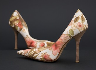Pair of High Heels with Flower Pattern