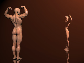 3d illustration, body builder on stage