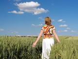 Romantic stroll through wheat corn poster