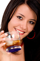 beautiful smiling girl with a drink on her hand - isolated