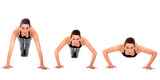 sequence of a girl doing exercise - push ups isolated poster