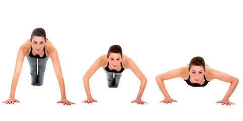 sequence of a girl doing exercise - push ups isolated