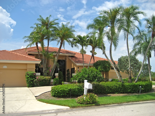 Large upscale house with many palm trees.