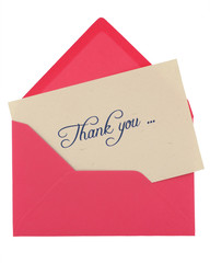 thank you note in a pink envelope