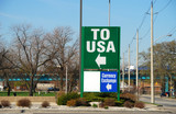 Border crossing sign into the USA from Canada poster