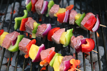 Colorful kabobs cooking on the grill