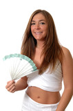 A pretty woman in summer clothes fanning herself  poster
