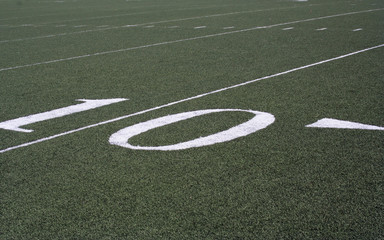 10 yard line marker on an Amercian Football Field