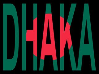 city of Dhaka with flag of Bangladesh