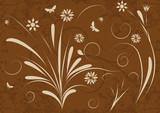 trendy grunge vector floral design poster
