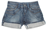 Jeans shorts on a white background poster