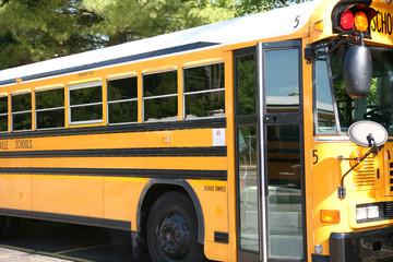 School bus side view with door