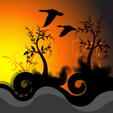 beautiful vector sunset illustration with geese  poster