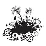 trendy grunge vector floral with palmtrees design poster