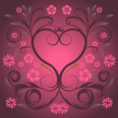 beautiful abstract vector floral heart design