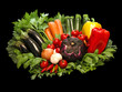 Colorful fresh group of vegetables on black background