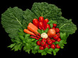 Red and green vegetables still life on clack background