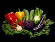 Colorful vegetables still-life on black background