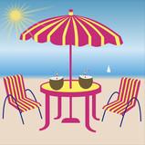 chaise et parasole sur la plage poster