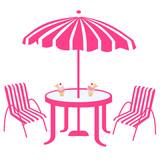 chaise et table rose sous parasole rose poster