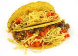close-up of two delicious Mexican Tacos against white  poster
