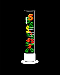 dollar signs in a glass laboratory beaker