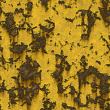 Rendered texture of peeling yellow paint over metal poster